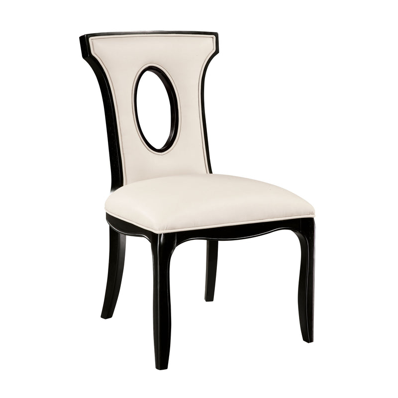 Alexis Side Chair In Black With Off White Faux Leather Fabric - Black