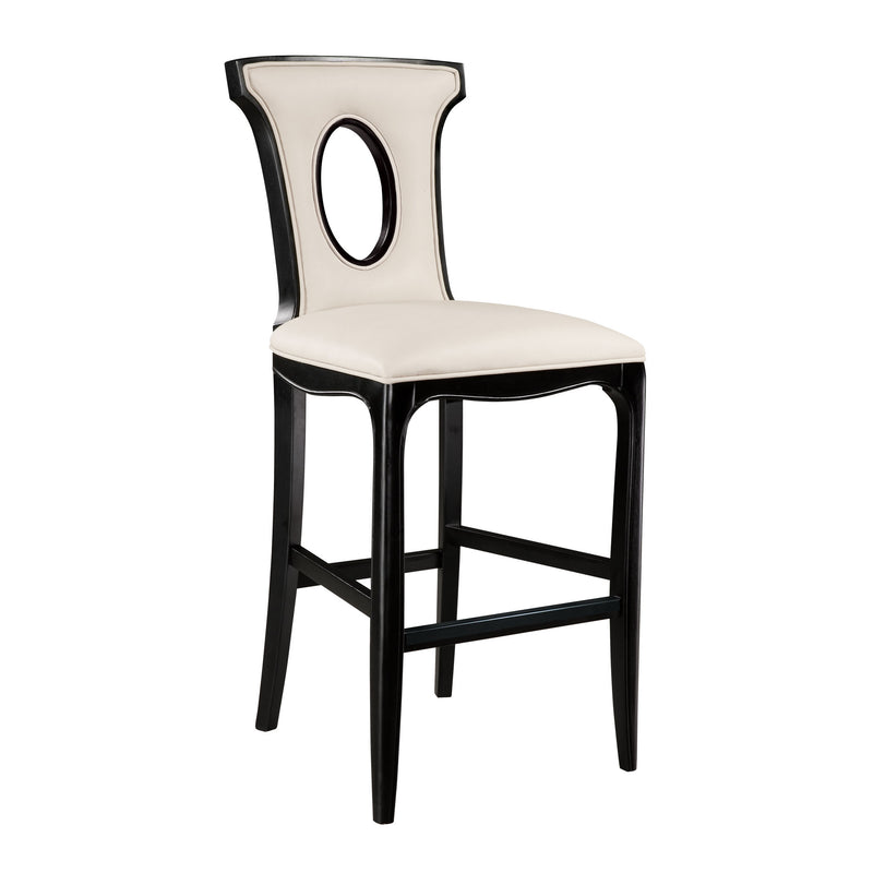 Alexis Barstool In Black With Off White Faux Leather Fabric - Black