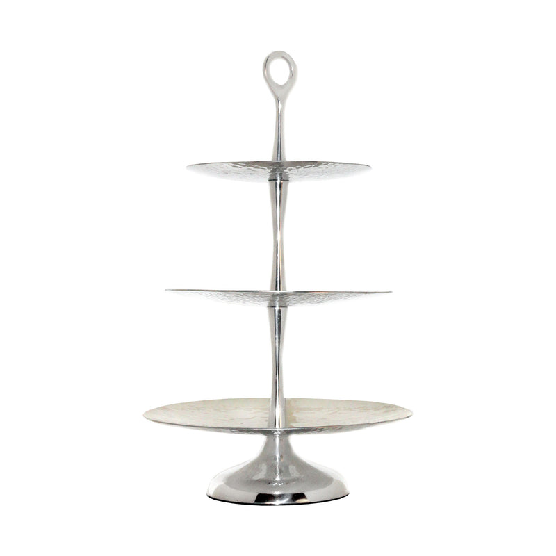Reef Tiered Triple Server - Hammered Aluminum