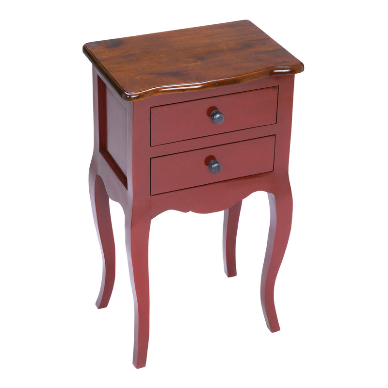 Amador Side Table In Red With Light Brown Top - Light Brown