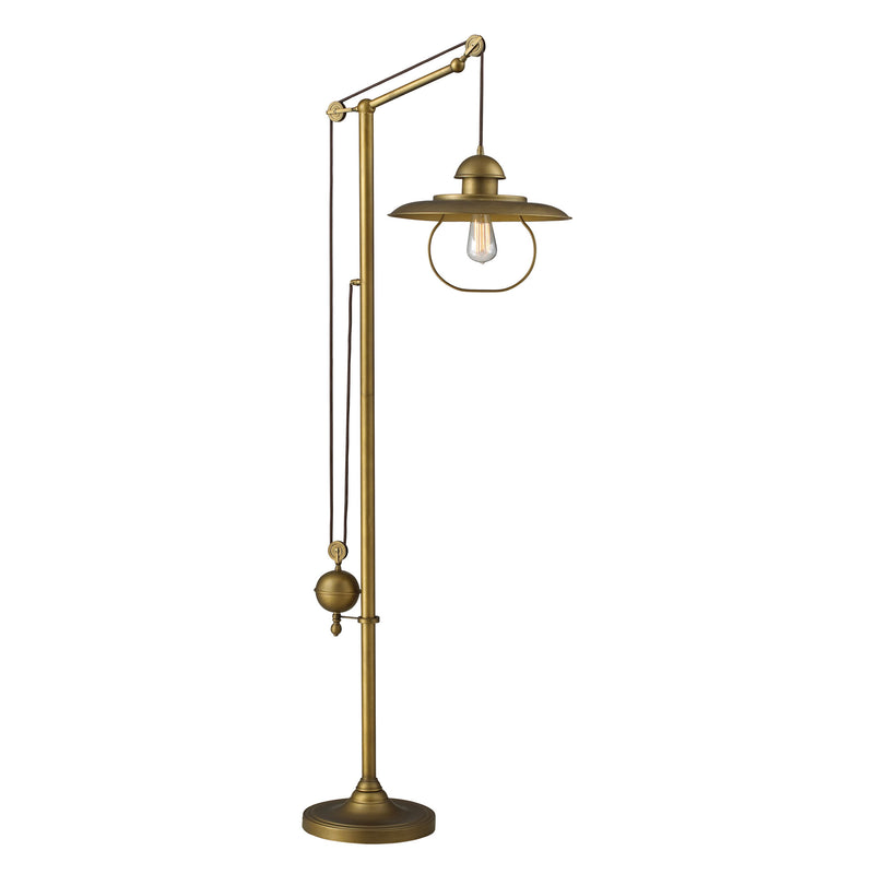 Farmhouse 1 Light Adjustable Floor Lamp In Antique Brass - Antique Brass