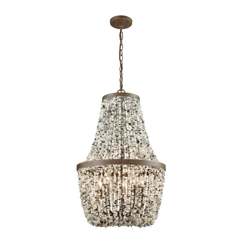 Agate Stones 5 Light Chandelier In Weathered Bronze With Gray Agate Stones - Weathered Bronze