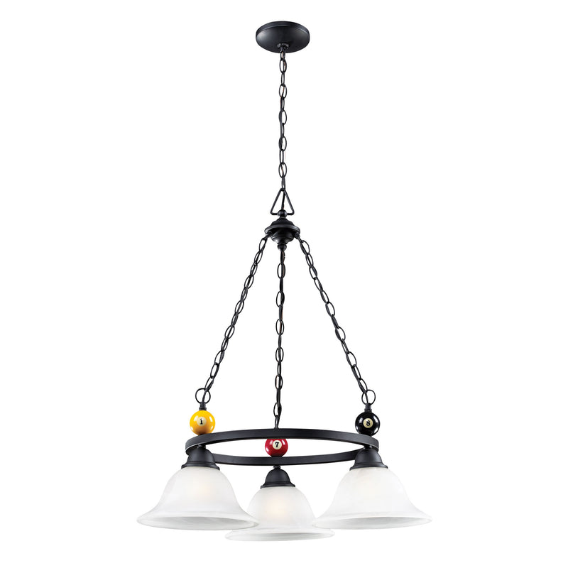 Designer Classics 3-Light Billiard Chandelier in Matte Black** - Matte Black