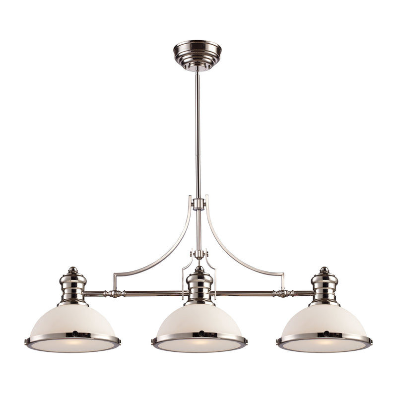 Chadwick 3 Light Billiard In Polished Nickel And White Glass - Polished Nickel