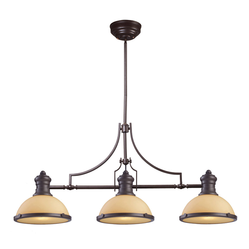 Chadwick 3 Light Billiard In Oiled Bronze And Amber Glass - Oiled Bronze