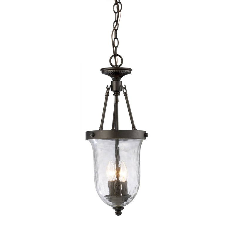 Yorkville 3 Light Pendant In Oiled Bronze And Water Glass - Oiled Bronze