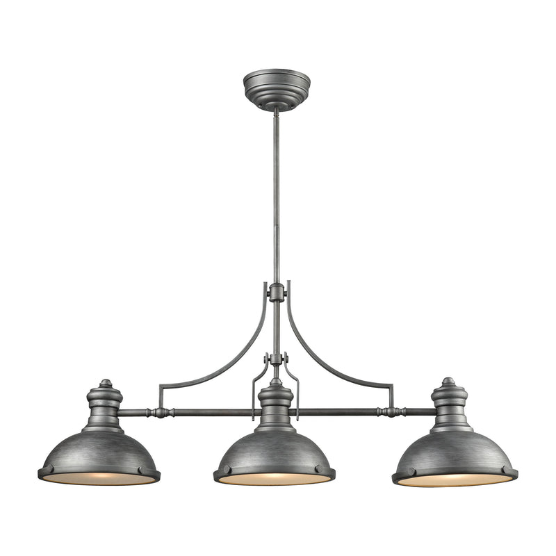 Chadwick 3 Light Island In Weathered Zinc With Frosted Glass Diffusers - Weathered Zinc