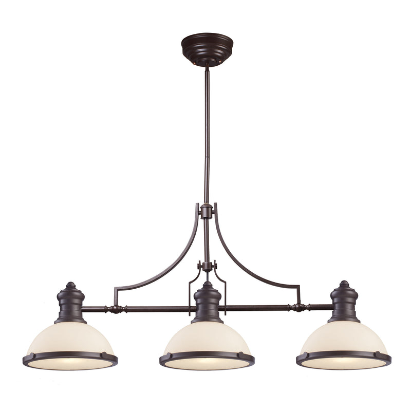 Chadwick 3 Light Island In Oiled Bronze And White Glass - Oiled Bronze