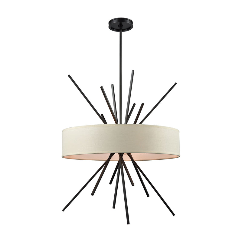 Xenia 5 Light Chandelier In Oil Rubbed Bronze With Beige Fabric Shade - Oil Rubbed Bronze