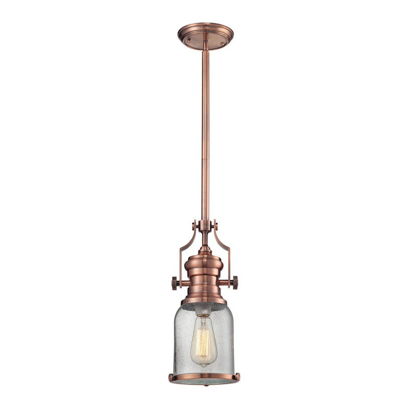 Chadwick 1 Light Pendant In Antique Copper And Seeded Glass - Copper