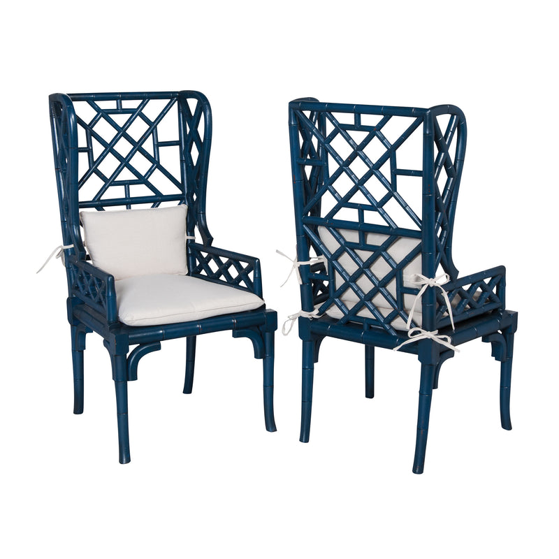Bamboo Wing Back Chair - Symphony Blue