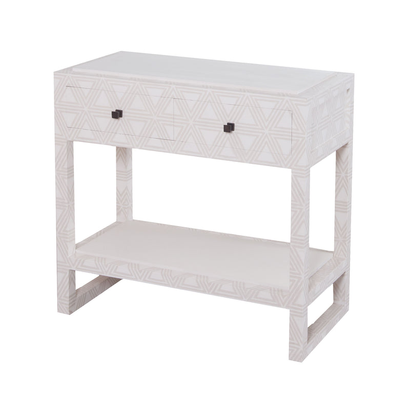 Bedford Fabric Wrapped 2 Drawer Bedside Table. Dove White