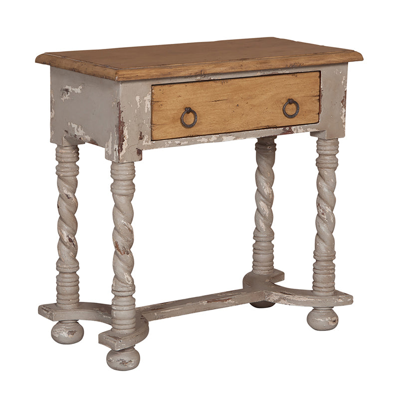 Barley Twist Side Table - Vintage Gris,Artisan Stain