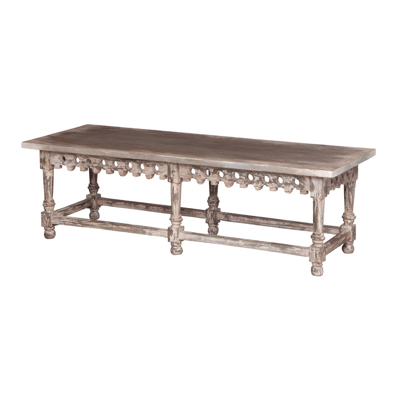 Coffee Table With Ornamental Apron - Potting Shed with white hang-up