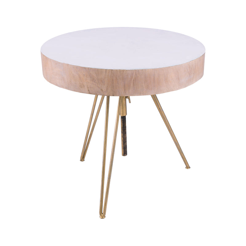 Biarritz Suar Wood Accent Table With Gold Metal Legs. Gold