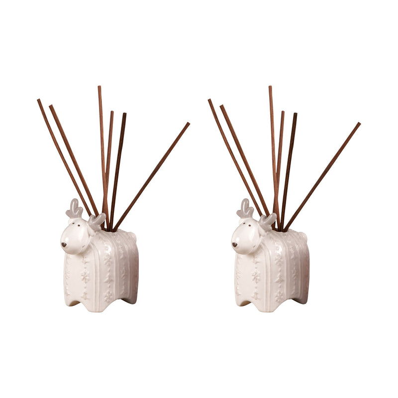 Reindeer Set of 2 Reed Diffusers In White - Grey