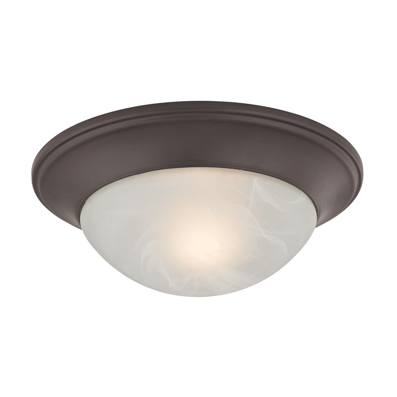 1 Light Flushmount In Oil Rubbed Bronze And Alabaster White Glass - Oil Rubbed Bronze