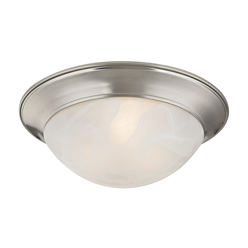 2 Light Flushmount In Brushed Nickel And Alabaster White Glass - Brushed Nickel