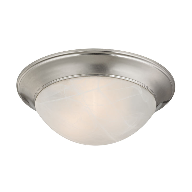 3 Light Flushmount In Brushed Nickel And Alabaster White Glass - Brushed Nickel