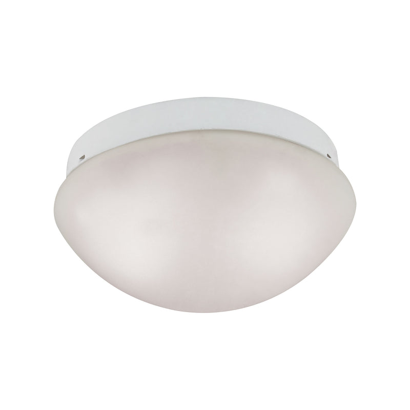 2 Light Mushroom Flushmount In White With Frosty White Glass - White