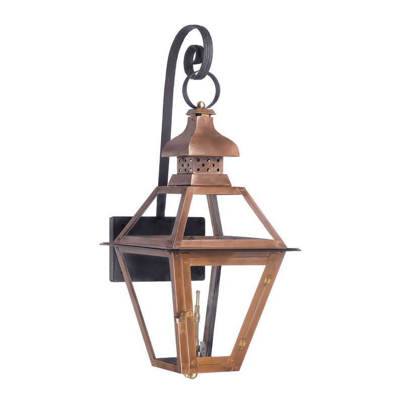 Bayou Outdoor Gas Wall Lantern In Aged Copper - Aged Copper