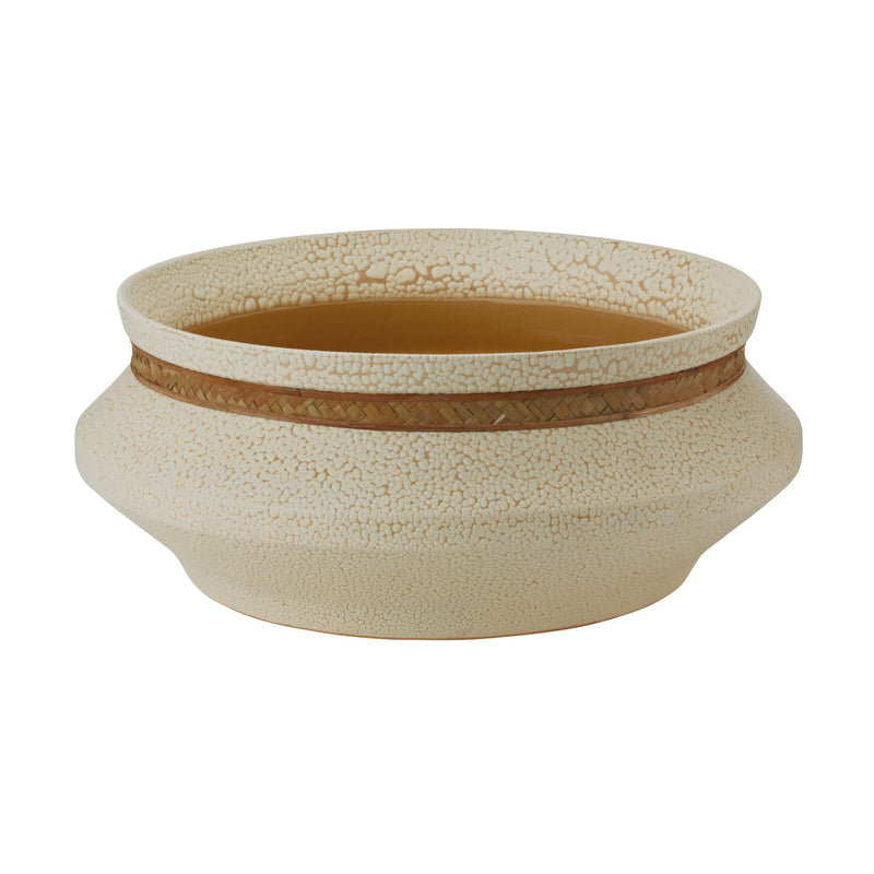Tofu Bowl with Woven Seagrass Trim - Cream