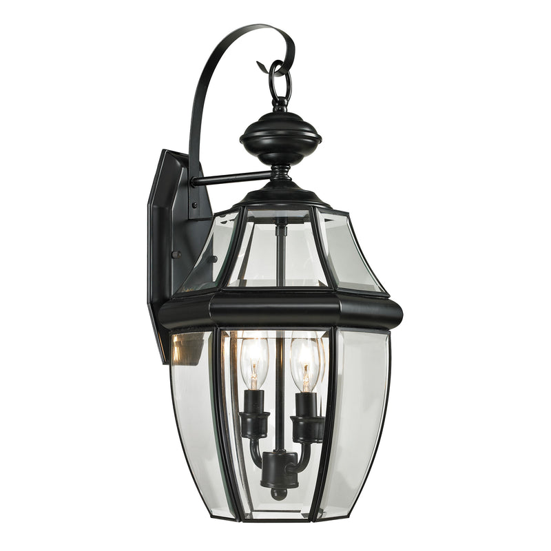 Ashford 2 Light Outdoor Wall Sconce In Black - Black
