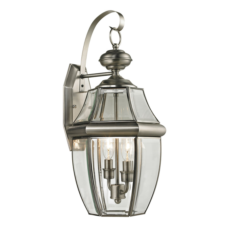 Ashford 2 Light Outdoor Wall Sconce In Antique Nickel - Antique Nickel
