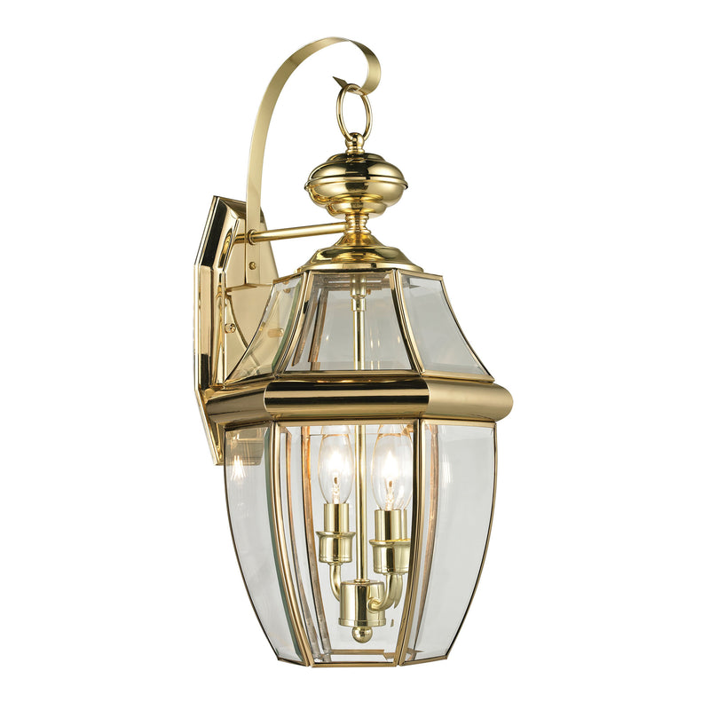 Ashford 2 Light Outdoor Wall Sconce In Antique Brass - Antique Brass