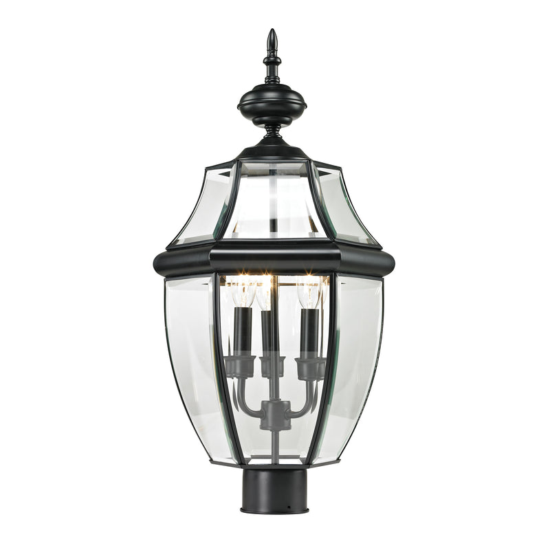 Ashford 3 Light Outdoor Post Lamp In Black - Black