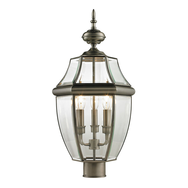 Ashford 3 Light Outdoor Post Lamp In Antique Nickel - Antique Nickel
