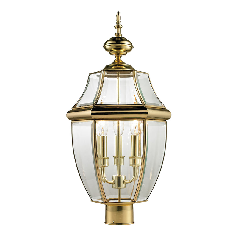 Ashford 3 Light Outdoor Post Lamp In Antique Brass - Antique Brass
