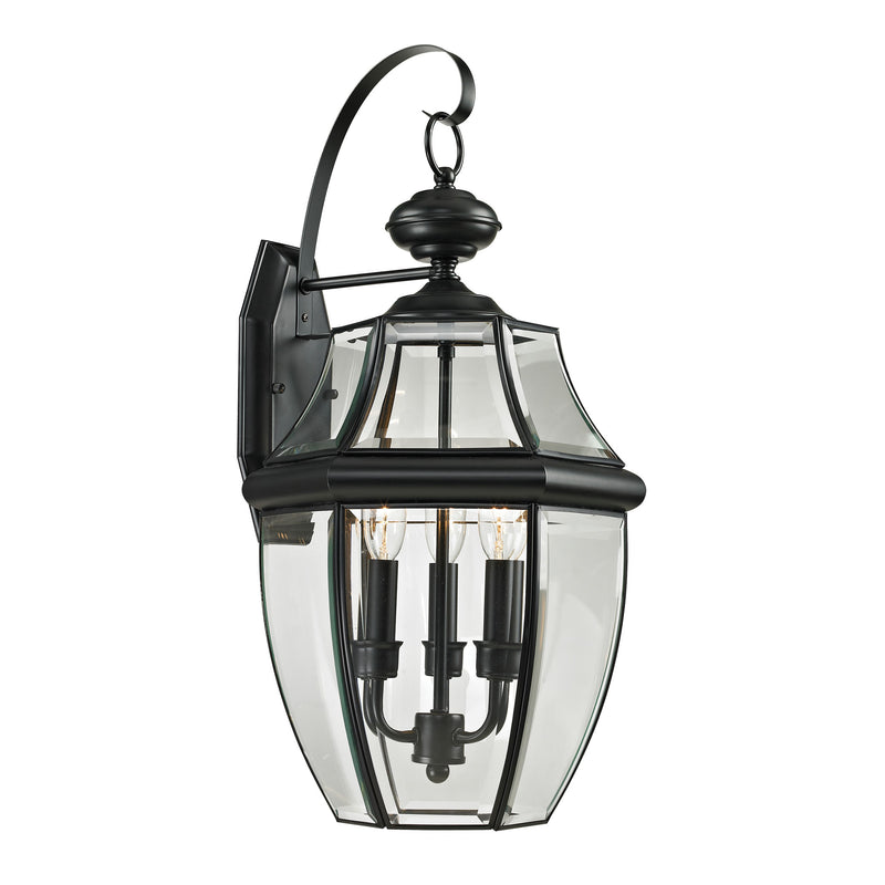 Ashford 3 Light Outdoor Wall Sconce In Black - Black