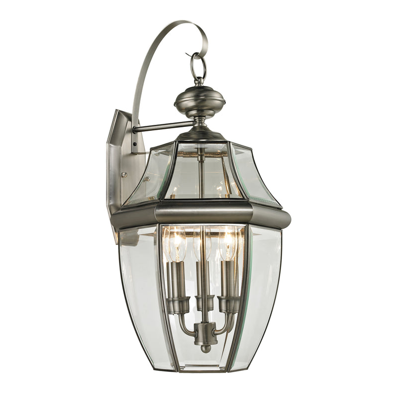 Ashford 3 Light Outdoor Wall Sconce In Antique Nickel - Antique Nickel