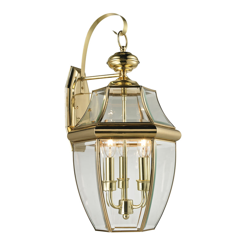Ashford 3 Light Outdoor Wall Sconce In Antique Brass - Antique Brass