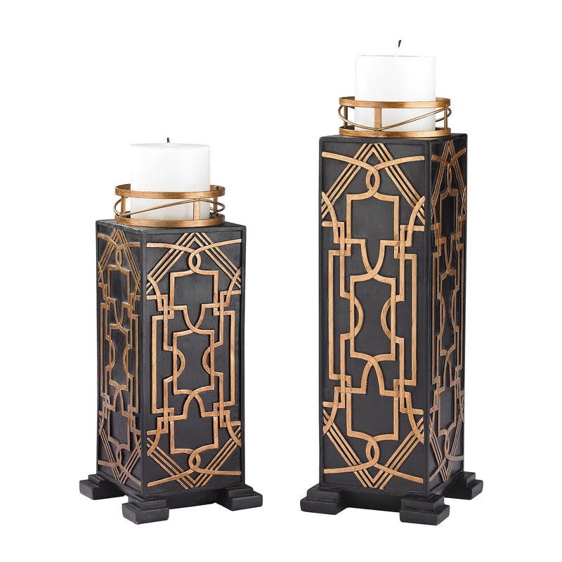 Gatsby Candle Holders - Set of 2 - Black