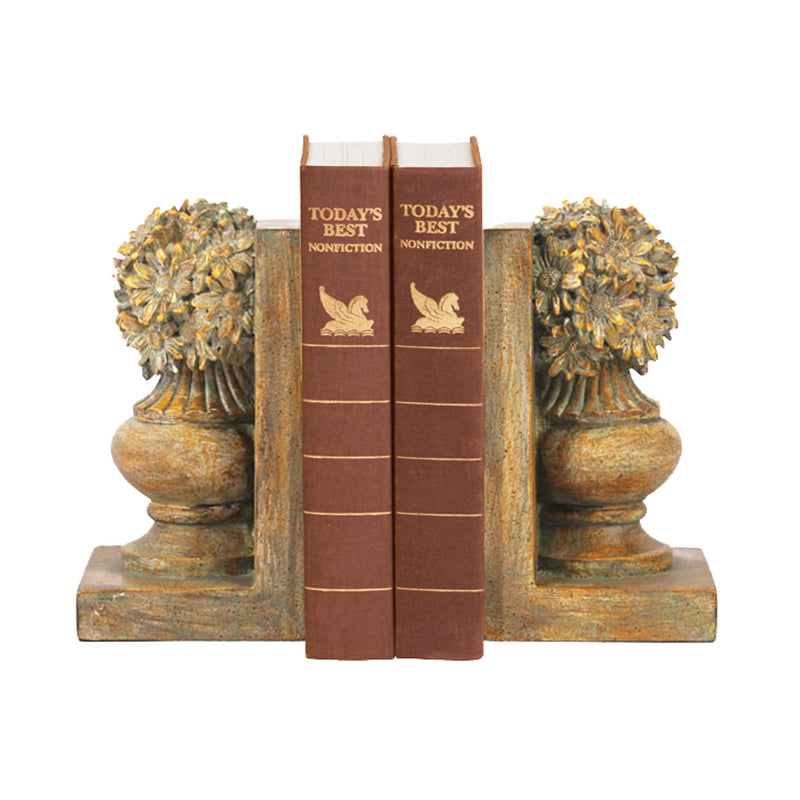 PAIR FLORAL URN BOOkENDS -