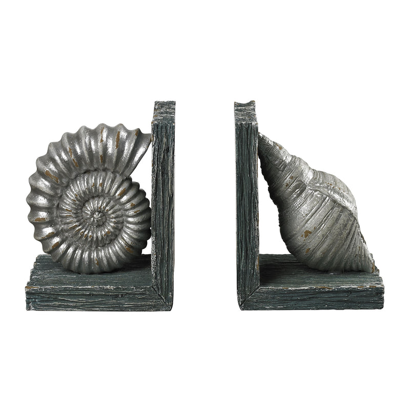 SHELL BOOkENDS - GANNON GREEN / SILVER