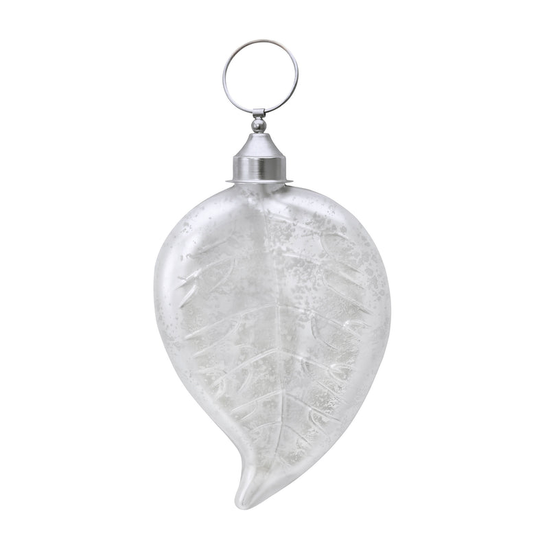 White Satin Leaf Ornament - Silver