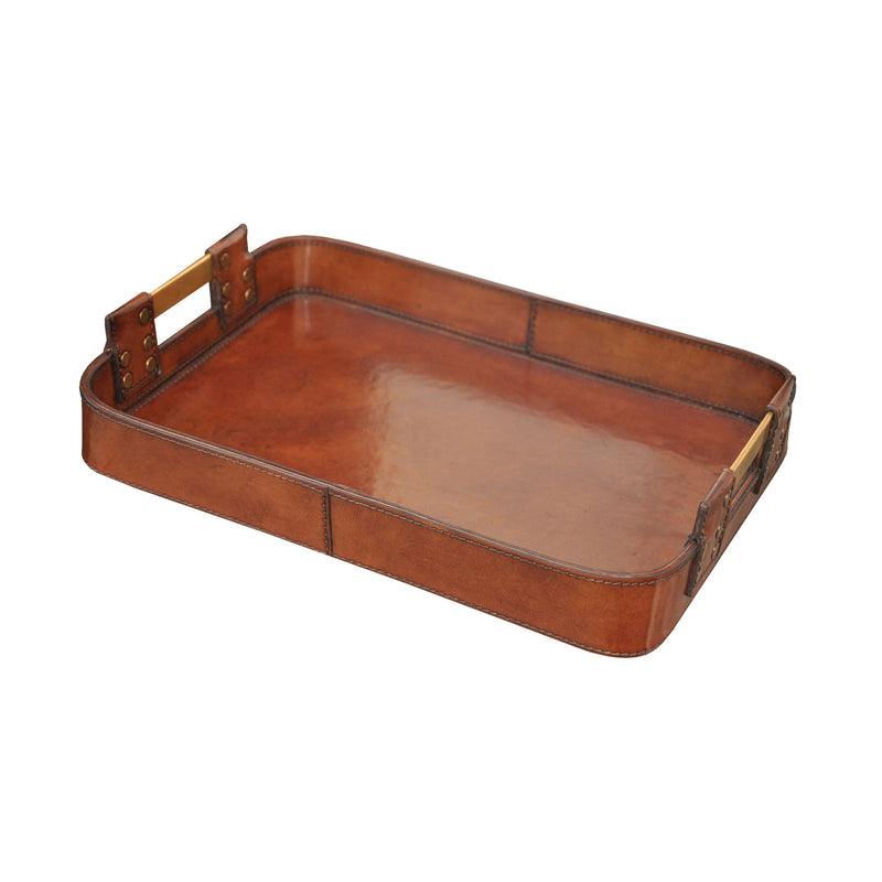 Small Leather Tray With Brass Handles - Brown
