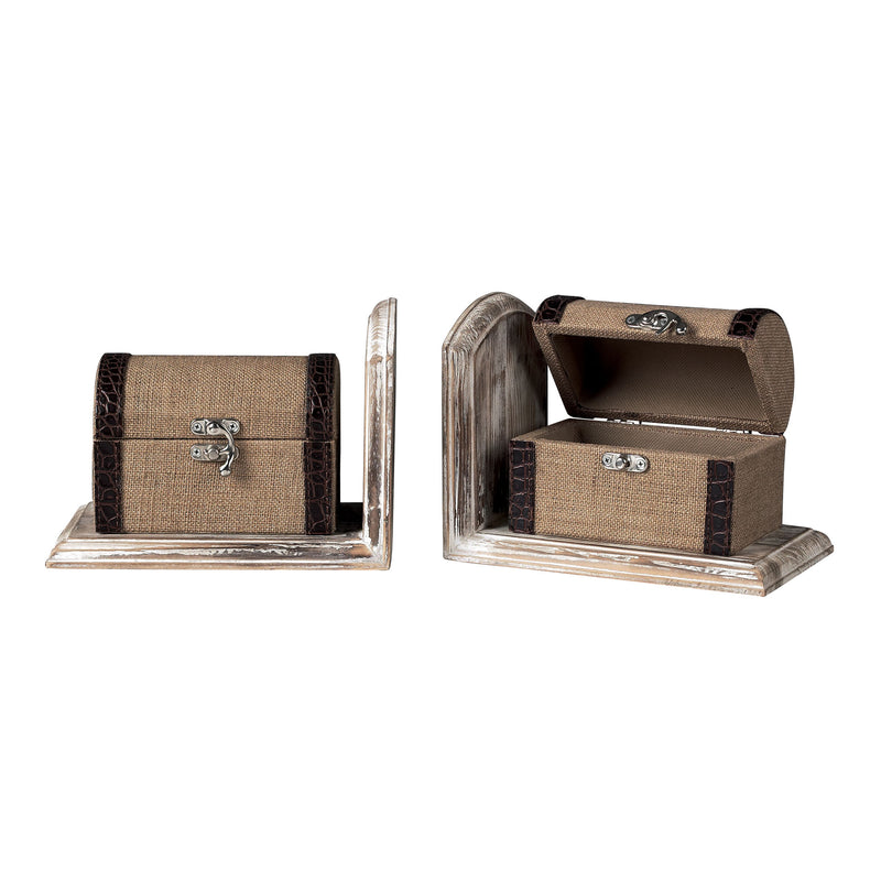 TRAVELLERS TRUNk BOOkENDS * * * - LINEN / CHOCOLATE / WASHED PINE