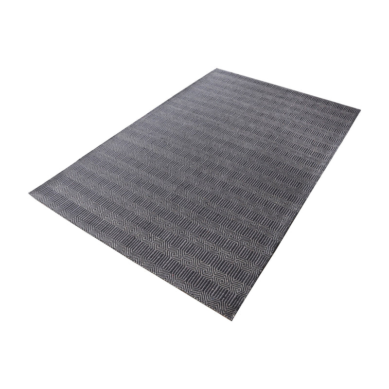 Ronal Handwoven Cotton Flatweave In Charcoal - 5ft x 8ft. Charcoal