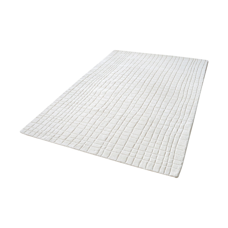 Blockhill Handwoven Wool Rug In Cream - 3ft x 5ft. Cream