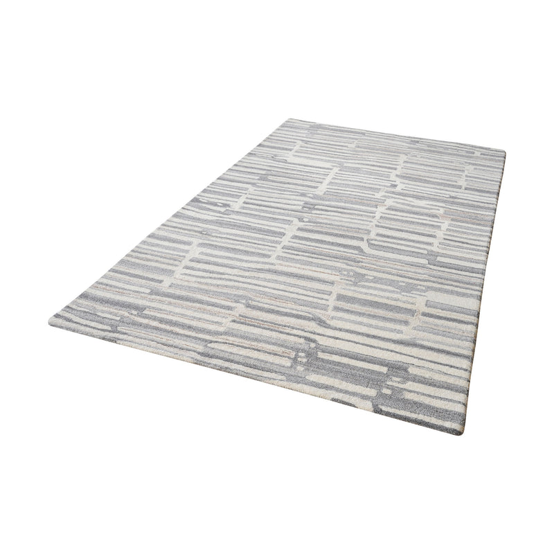 Slate Handtufted Wool Rug In Grey And White - 5ft x 8ft. Grey