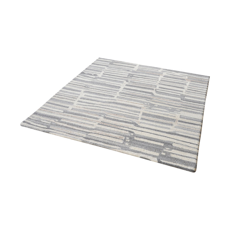 Slate Handtufted Wool Rug In Grey And White - 16-Inch Square. Grey