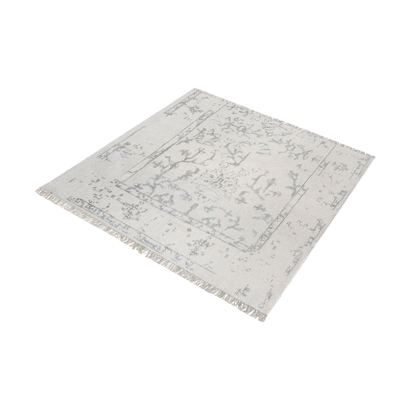 Belleville Handknotted Wool And Bamboo Viscose Rug - 6-Inch Square. Antique Ivory