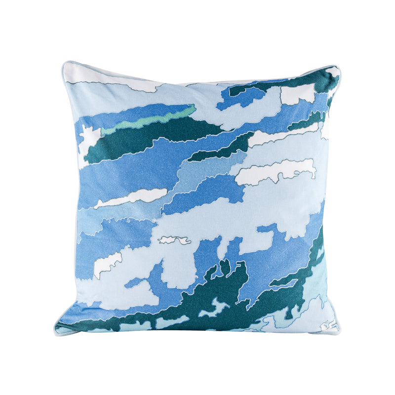 Blue Topography Pillow With Goose Down Insert. Digital Print