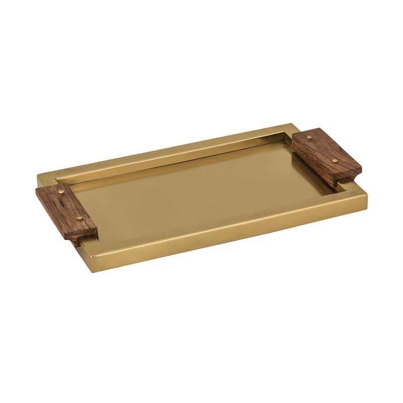 Brass Tray With Wood Handles. Antique Brass,Medium Woodtone