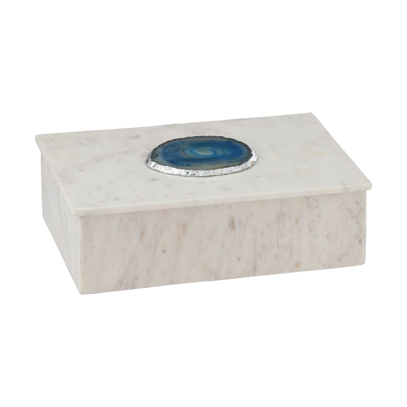 Antilles Box In White Marble And Blue Agate. Blue