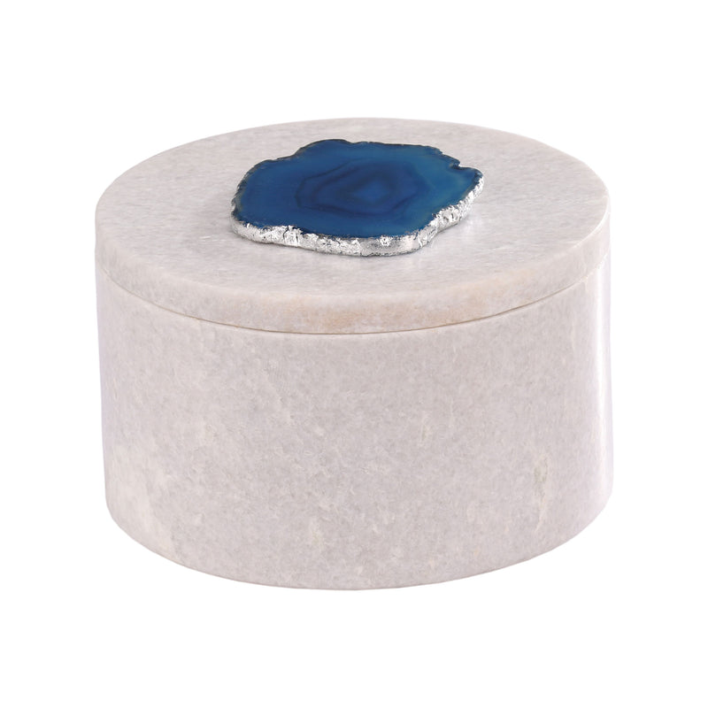 Antilles Round Box In White Marble And Blue Agate. White,Blue